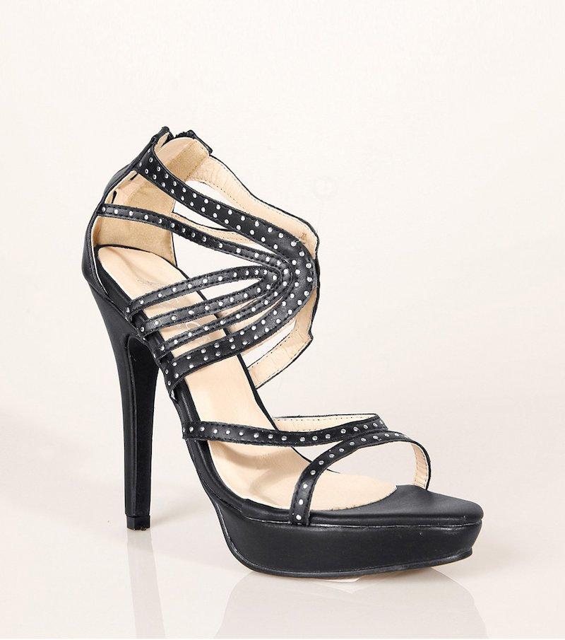 Sandalias de tacón alto mujer tiras con strass