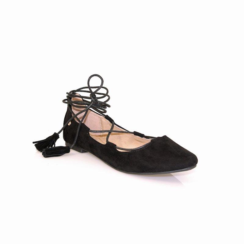 Zapatos manoletinas símil ante y tiras al tobillo