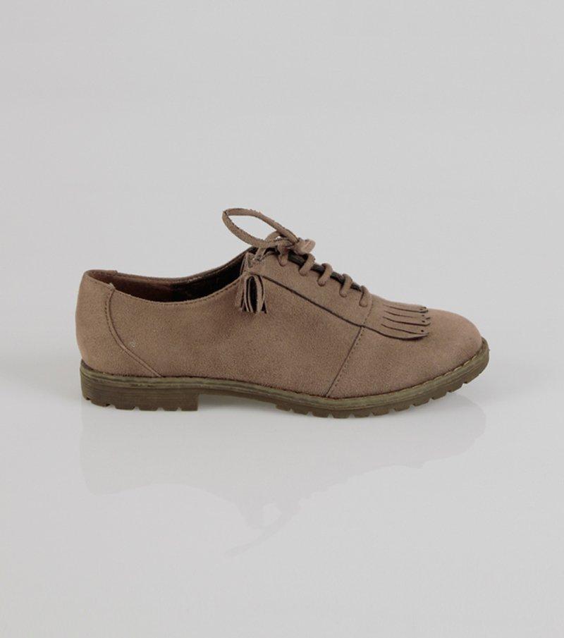 Zapatos mujer con flecos símil antelina - Beige