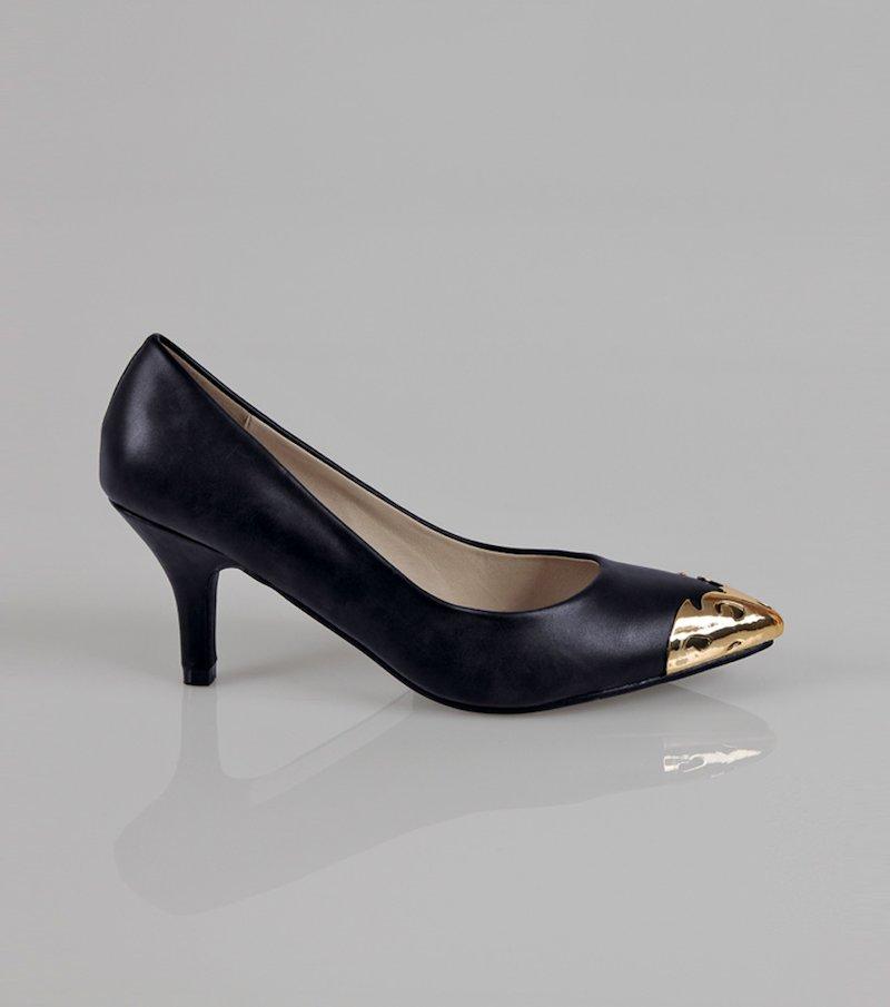 Zapatos mujer vestir con puntera metálica - Negro