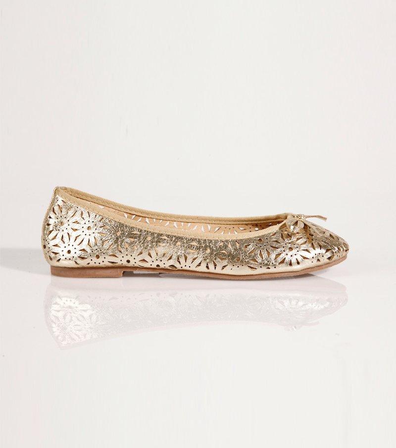 Zapatos bailarinas mujer troqueladas metalizadas - Amarillo