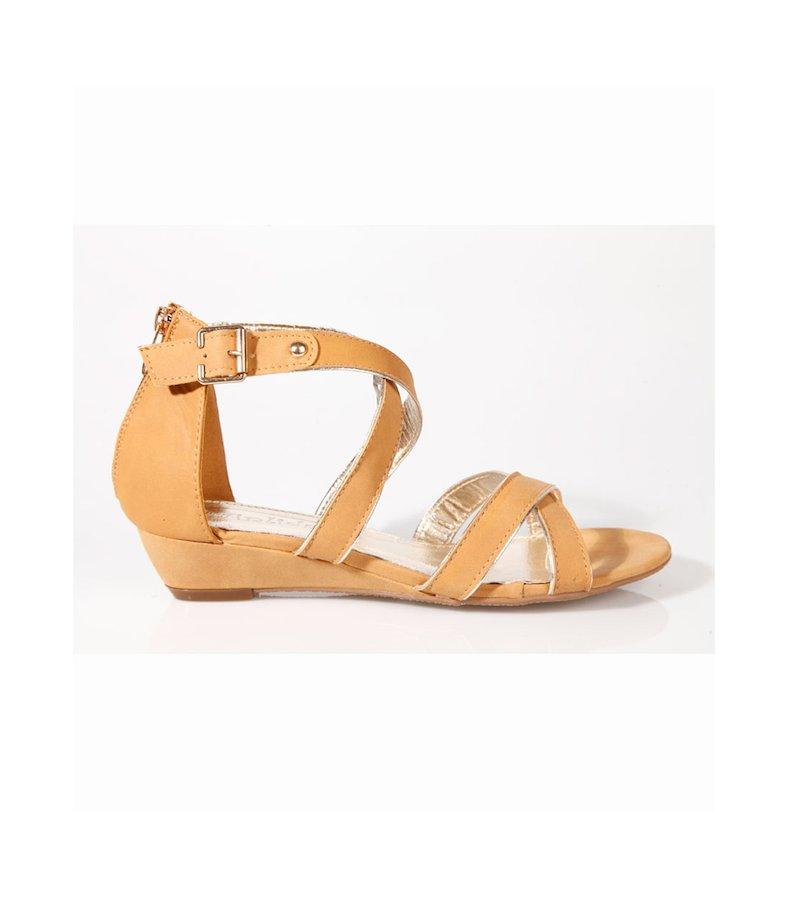 Sandalias mujer romanas marrón dorado