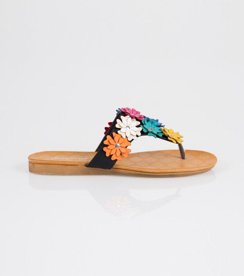 Sandalias mujer flores símil piel