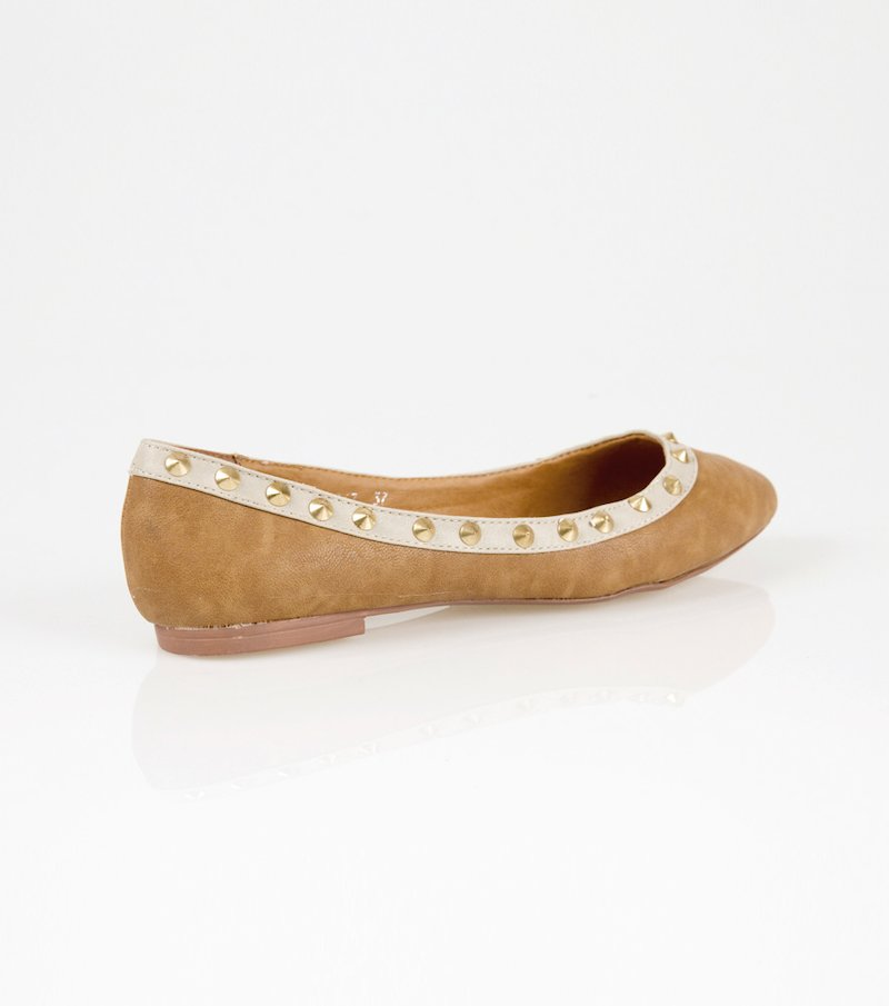 Zapatos planos bailarinas mujer con tachuelas - Marrón
