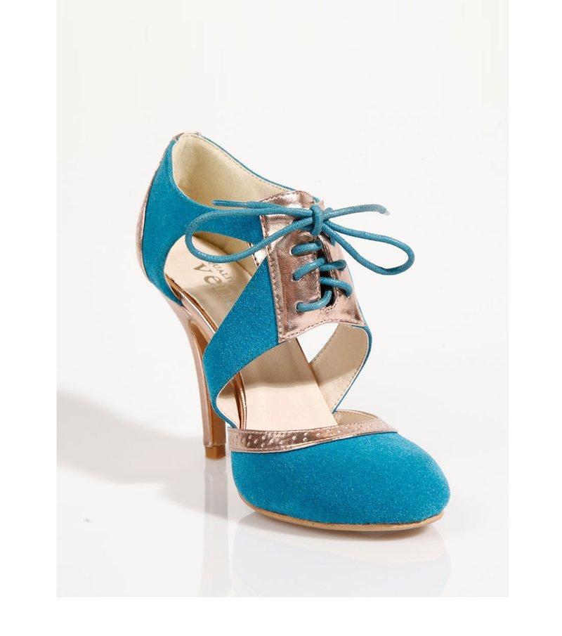 Zapatos botines de tacón mujer símil ante - Azul