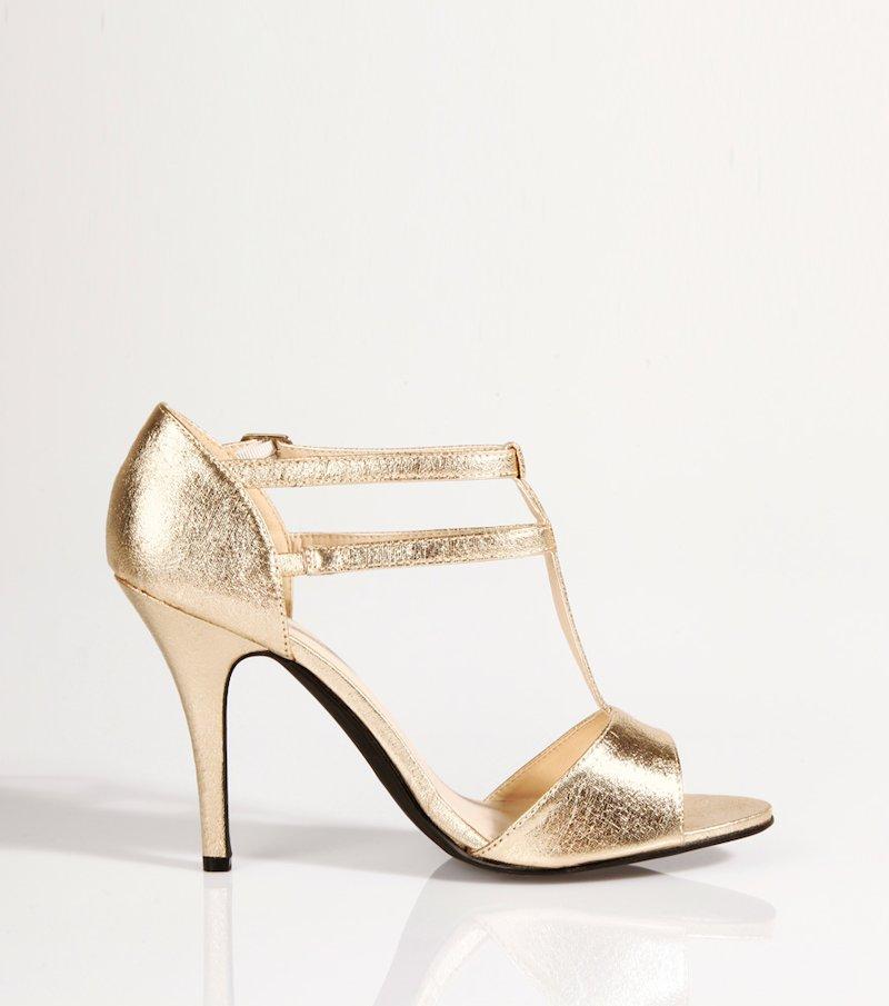 Sandalias de fiesta mujer de tacón metalizadas - Metal