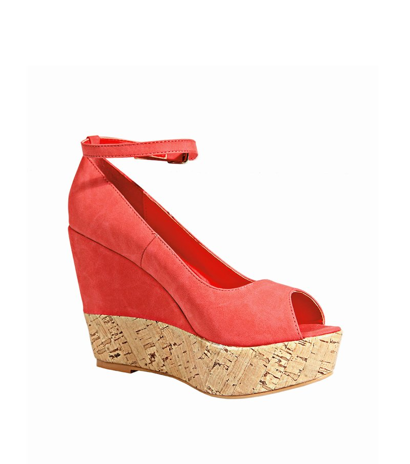 Sandalias cuña mujer con plataforma - Rojo