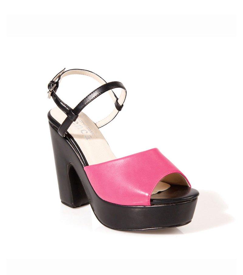 Sandalias de tacón con plataforma símil ante