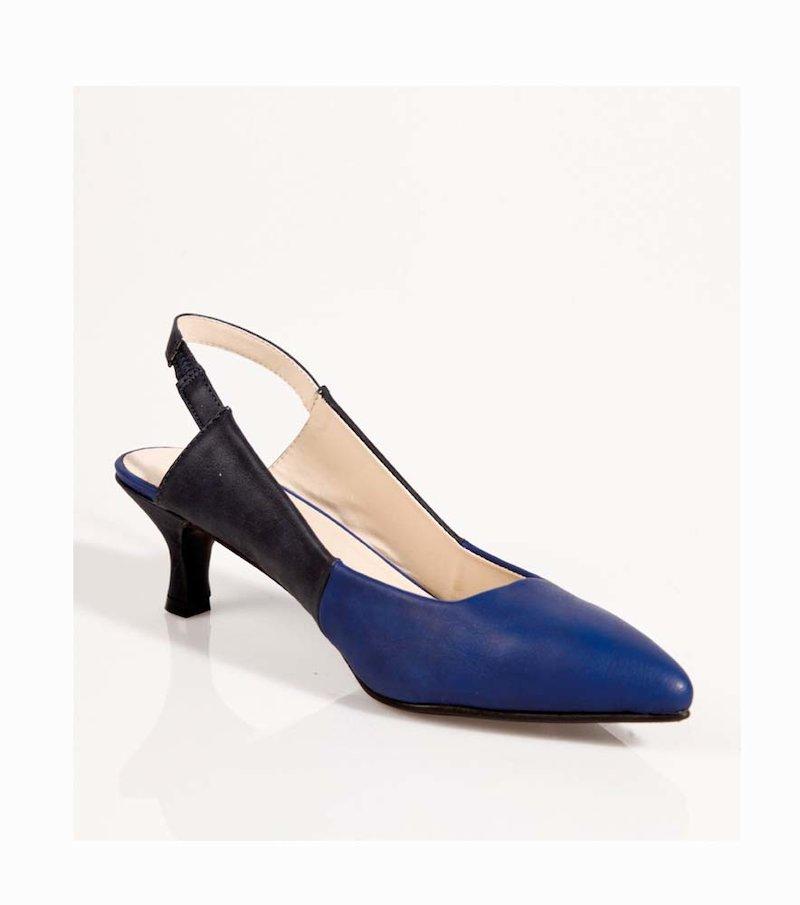 Zapatos de tacón mujer símil piel bicolor - Azul