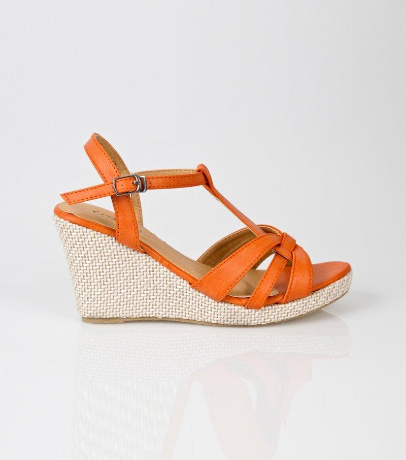 Sandalias mujer de cuña símil piel naranja