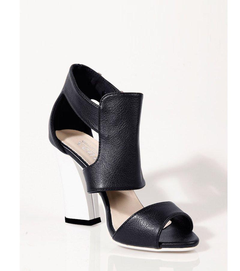 Sandalias de tacón mujer bicolor - Negro
