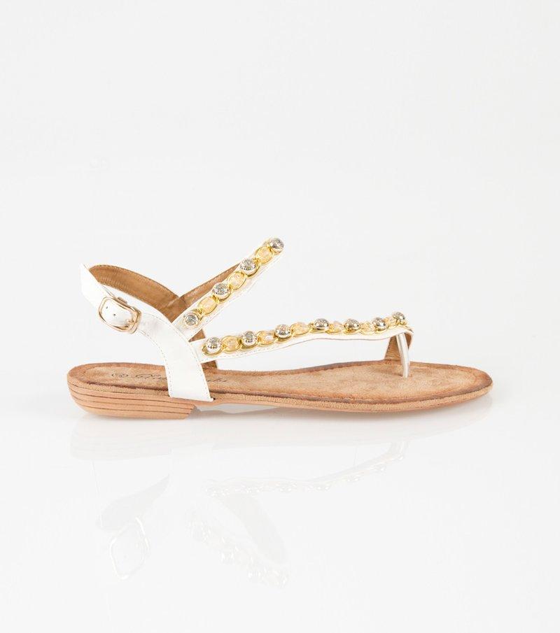 Sandalias mujer planas blancas con pedrería - Blanco