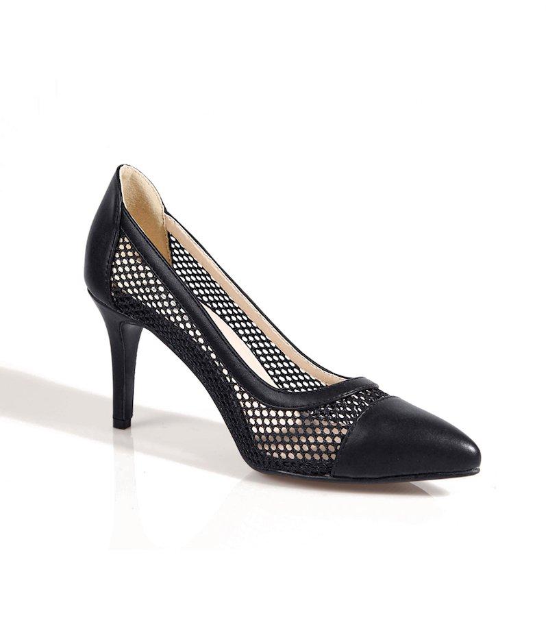 Zapatos de tacón mujer salón con rejilla - Negro