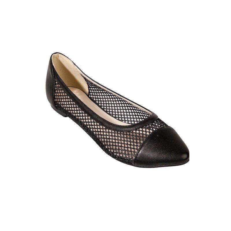Zapatos bailarinas mujer de rejilla - Negro