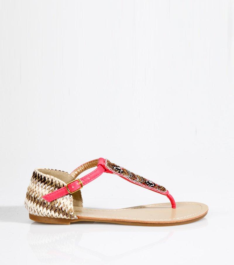 Sandalias mujer planas rafia y abalorios