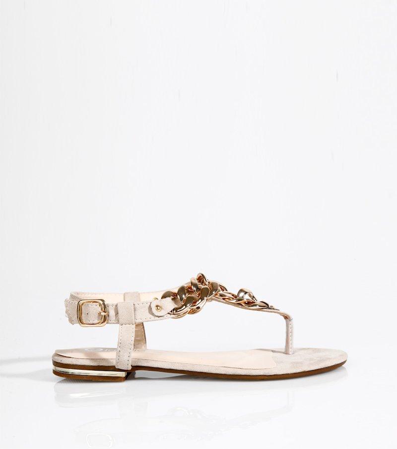 Sandalias planas mujer con cadena dorada