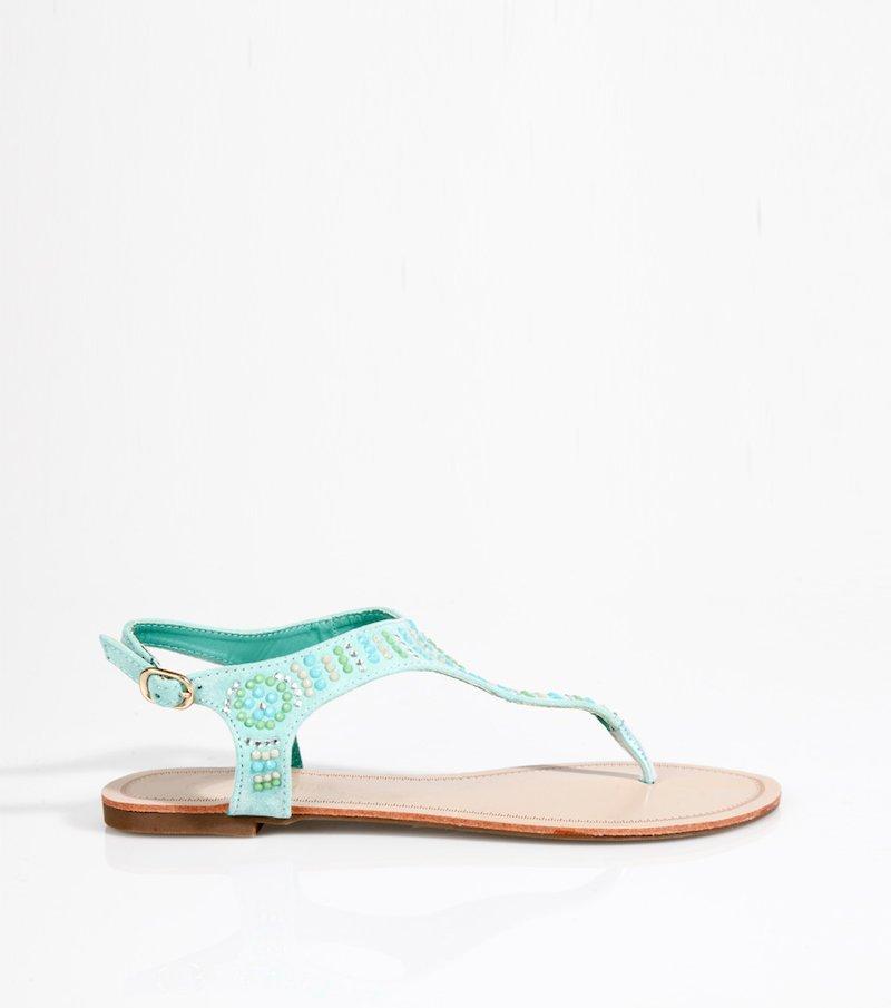 Sandalias planas mujer con aplicaciones - Verde