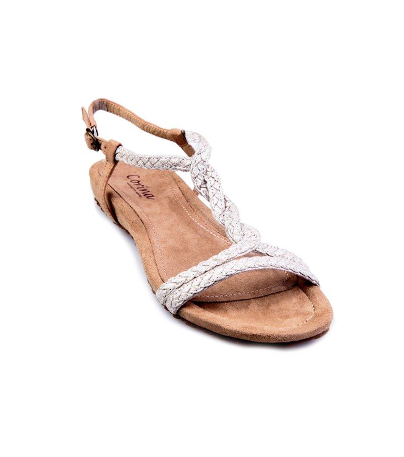 Sandalias planas de tiras mujer plateadas
