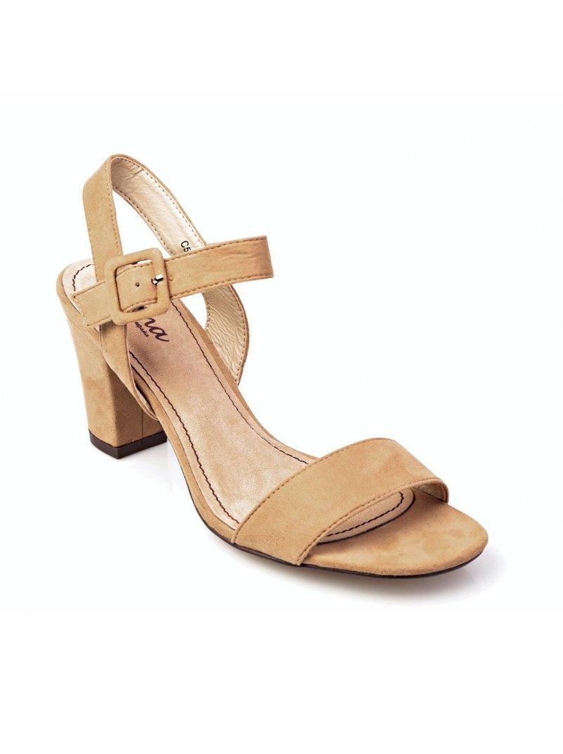 Sandalias de tacón ancho mujer símil antelina