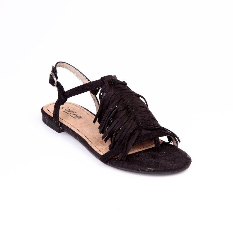 Sandalias planas símil ante con flecos mujer