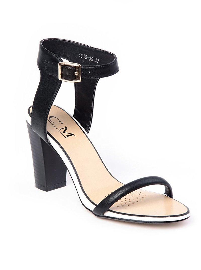 Sandalias de tacón mujer bicolor símil piel
