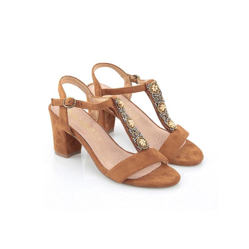 Sandalias de tacón mujer símil ante con abalorios