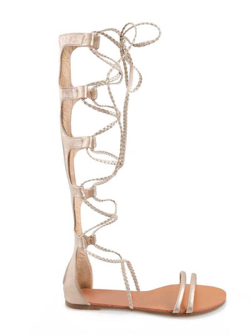 Sandalias planas romanas tipo gladiador para mujer