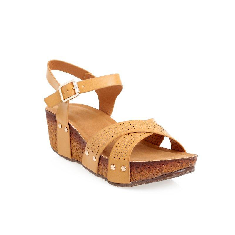 Sandalias con plataforma en símil corcho
