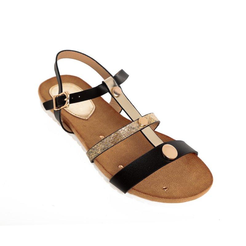 Sandalias planas para mujer con tiras