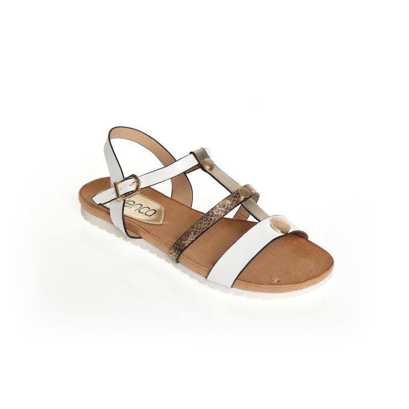 Sandalias planas para mujer con tiras - Blanco