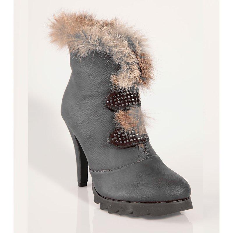 Zapatos botines mujer tacón con pelo y strass - Gris