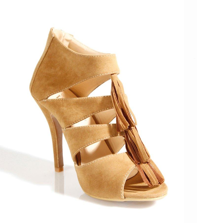 Zapatos botines de tacón mujer con pompones