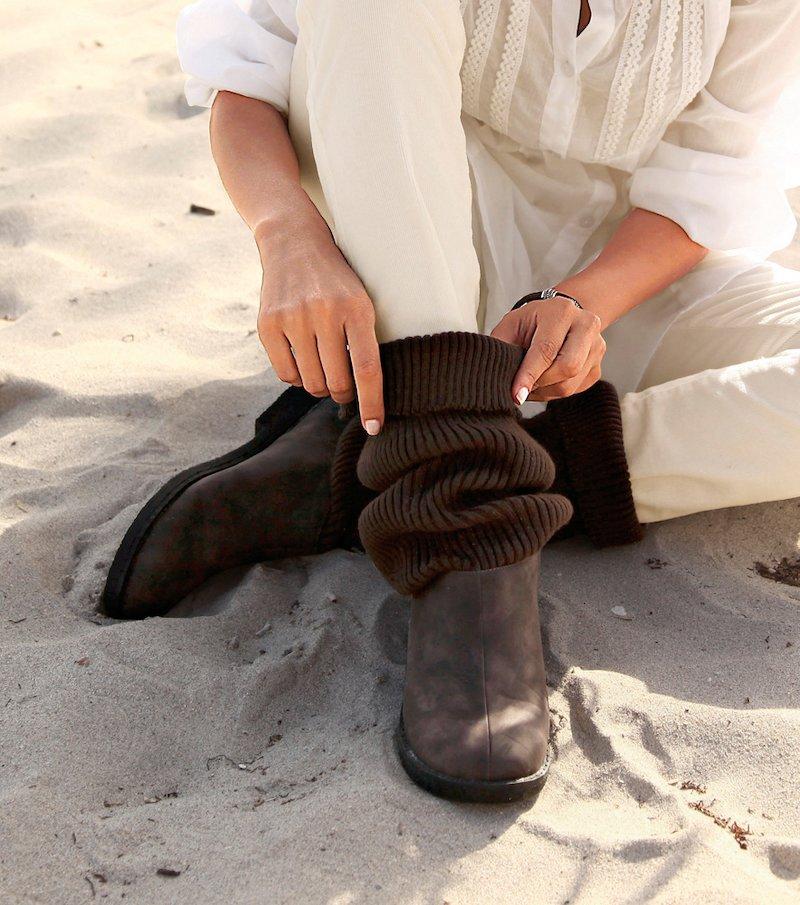 Botas mujer caña de tricot - Marrón