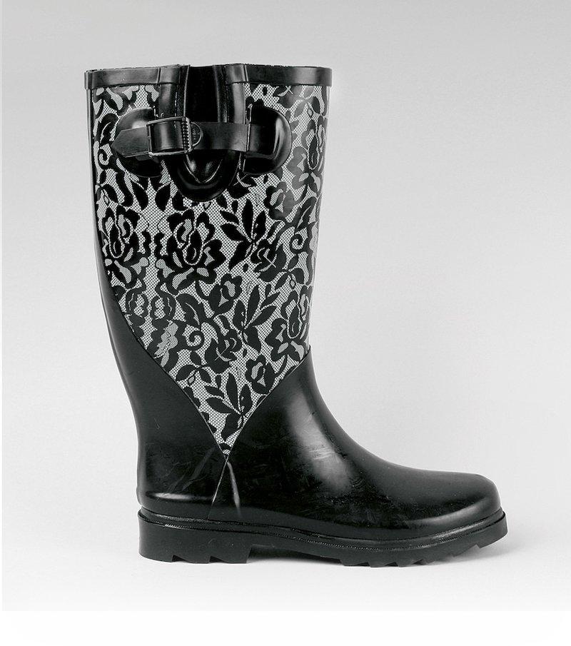 Botas de agua altas de mujer con hebilla - Negro