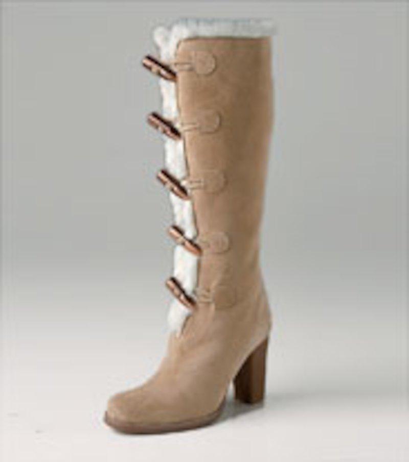 Botas mujer de caña alta borreguillo - Beige
