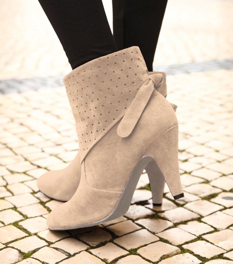 Botines de mujer con tacón anudados al tobillo forro caña tr - Beige