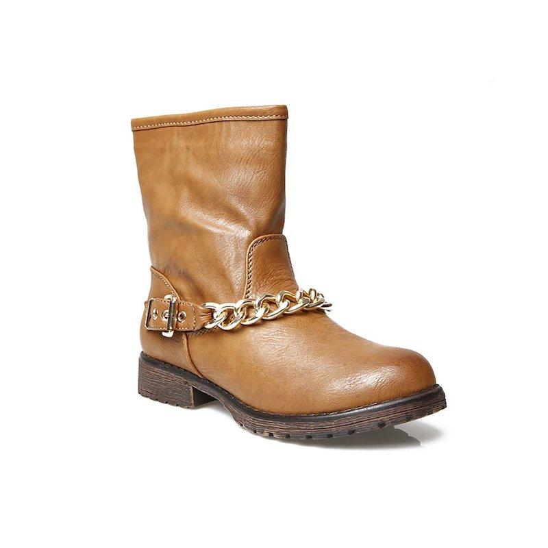 Botines camperos mujer con hebilla y cadena