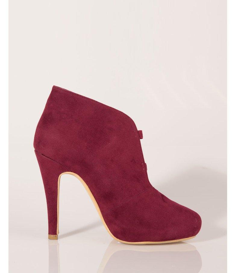 Zapatos botines tacón mujer símil antelina - Rojo
