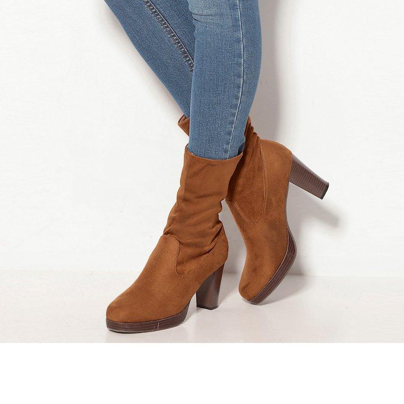 Botines para mujer con caña baja en suave antelina