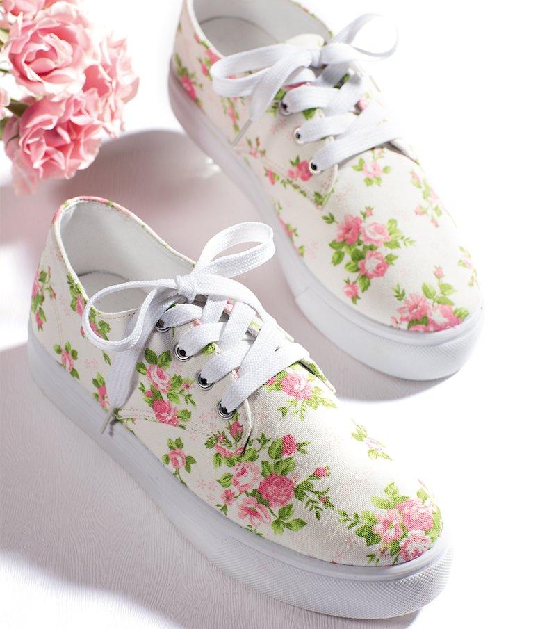 Zapatillas estampadas de loneta con cordones - Blanco