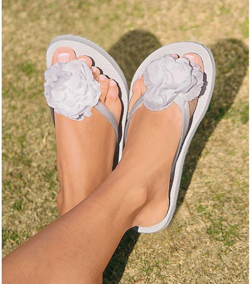 Zapatos chanclas mujer flor