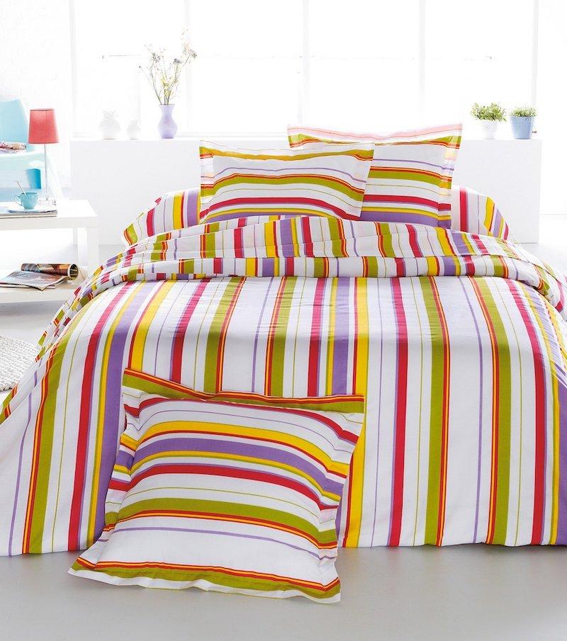 Juego de cama 2 piezas Rayas multicolor - Blanco