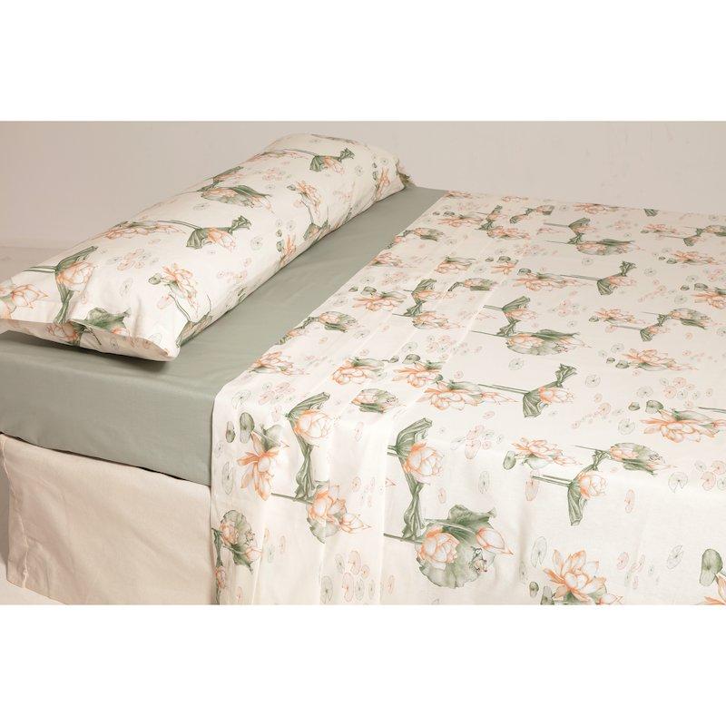 Juego cama 2 piezas estampado nenúfares polialgodón