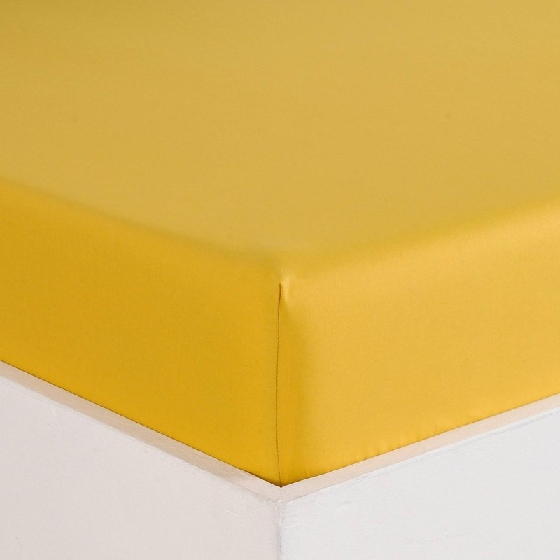 Sábana bajera color miel en algodón de percal