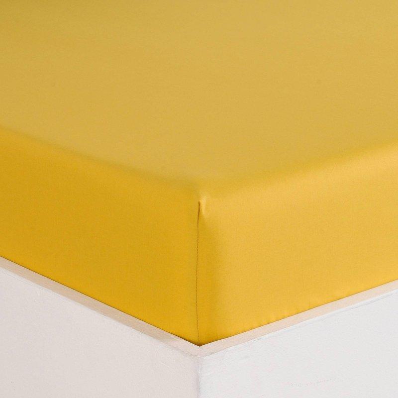 Sábana bajera color miel en algodón de percal - Amarillo