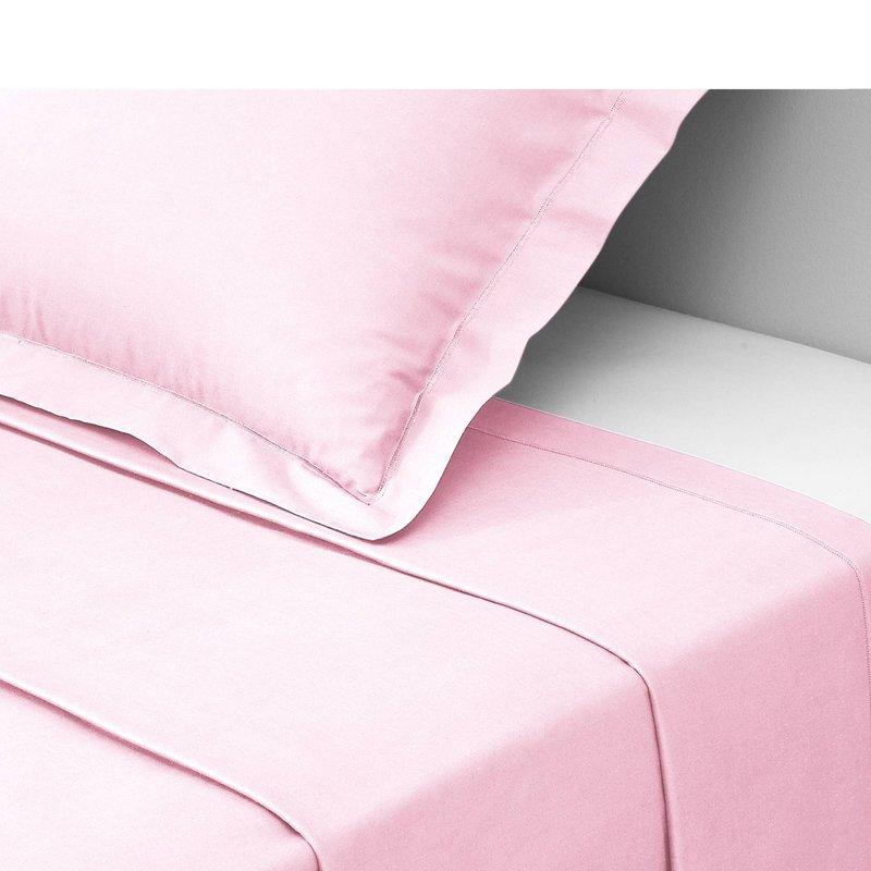 Sábana encimera PERCALE algodón color rosa