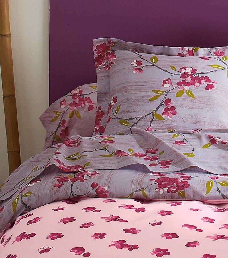 Funda de almohada estampada flores japonés