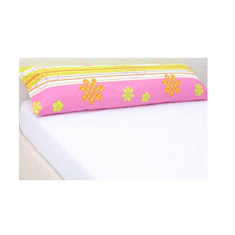 Funda de almohada con estampado de flores y rayas en algodón