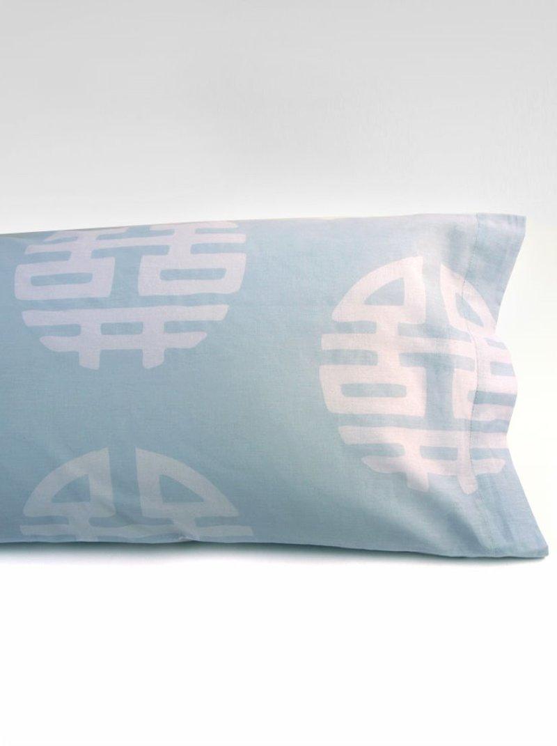 Funda de almohada de algodón con estampado nipón bicolor