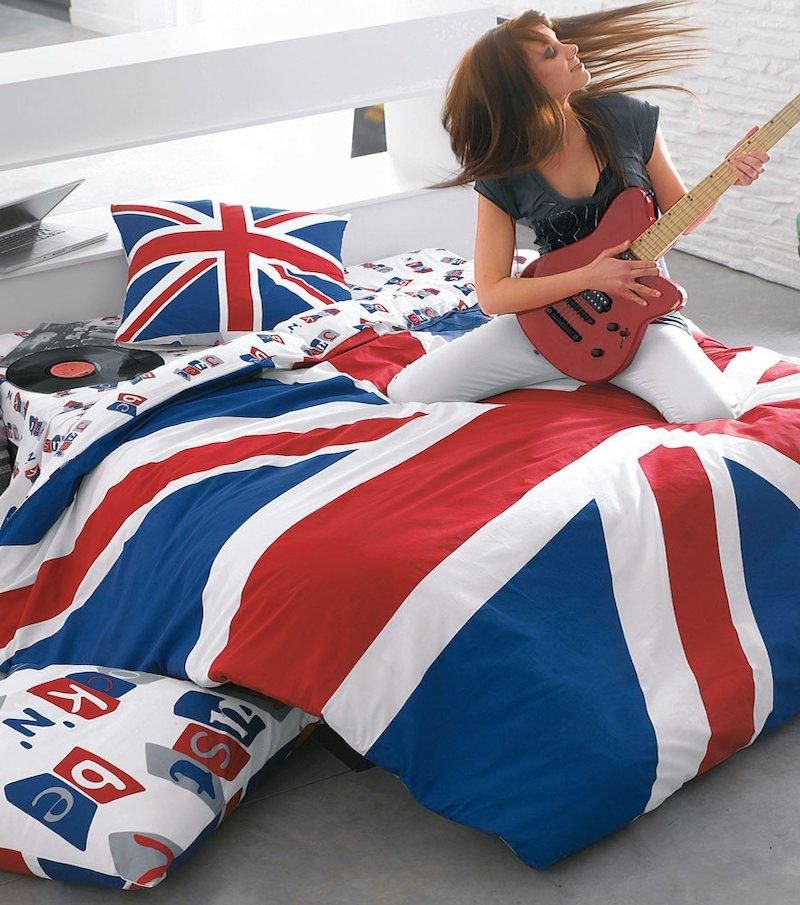Sábana encimera estampada de inspiración British de algodón